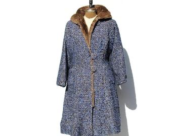 Vintage Deep Blue & Black Wool Brown Fur Hooded Coat