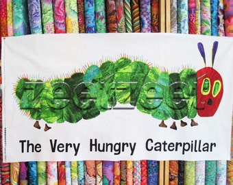 """LARGE CATERPILLAR Very Hungry Panel Quilt Fabric - by the 24"""" Panel Cotton From Book Series for children"""