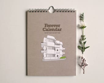 birthday calendar with bauhaus architecture illustrations