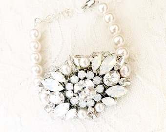 Statement bridal bracelet, Rhinestone Statement Piece Pearl Bracelet, Swarovski Pearl Bracelet White Opal and Clear Rhinestone ARIELLA