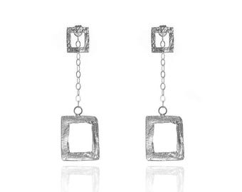Two-In-One Sterling Silver Square Earrings