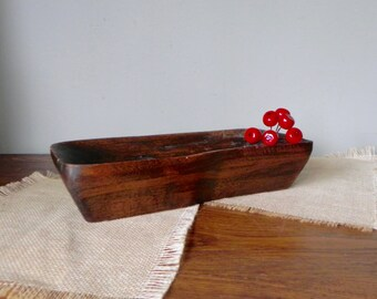 Vintage dough bowl - rustic and hand carved small trencher rectangle bowl centerpiece display bowl