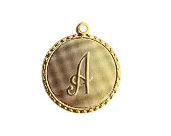 Initial Charm, Letter Charm, Silver Initial, Gold Initial, Monogram Charm, Initial Necklace, Initial Bracelet (Vineyard Initial Charm)