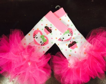 "Hello Kitty Girls Ruffle Tutu Leg Warmers - Fits girls 6m to 3T approx 6"" long - Perfect for Birthday, Costume, Photo Prop"