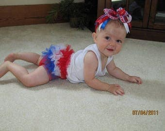 4th of July Ruffle Tutu Diaper Cover- Fits 0-24M Perfect for Memorial day, 4th of July, Photo Prop, gift - Made & Ready Ship