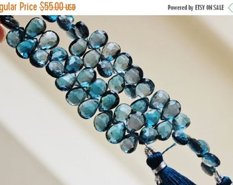 Black Friday Sale Outrageous London Blue Topaz Briolette Faceted Pear TearDrop 11.5mm 5 beads