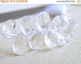 Final 51% off Sale Rock Crystal Quartz Gemstone Faceted Tear Drop  Briolette Large 10mm 1/2 strand 23 beads