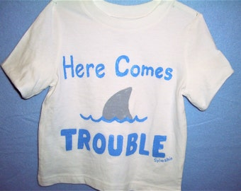 Kids Shark Shirt, Here Comes Trouble Shark Shirt, Funny Shark Shirt, Funny Kids Shirt, Kids Fish Shirt
