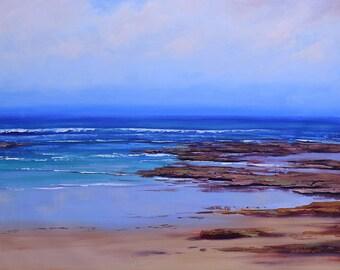 Beach painting, Beach Scene, beach wall art oil painting  by Graham Gercken