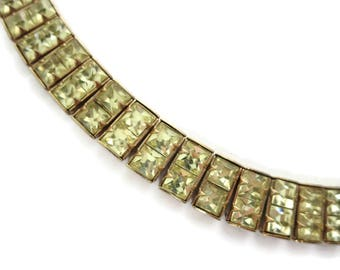Yellow Rhinestone Necklace - Jonquil, Square Stones, Costume Jewelry,