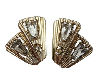 Rhinestone Earrings - Mid Century Modern, 1950s Claudette Costume Jewelry
