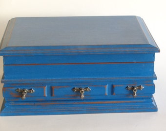 Vintage Jewelry Box Painted Blue  Distressed