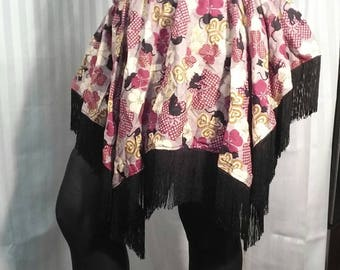 Black Cats Tassle Full Skirt Size medium 30 to 42 inch