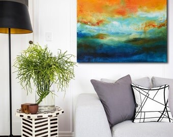 Original and blue painting on canvas, acrylic abstract art, Orange green painting, large art, abstract floral painting, modern art