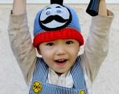 Crocheted Thomas Train Hat. Blue. Beanie.
