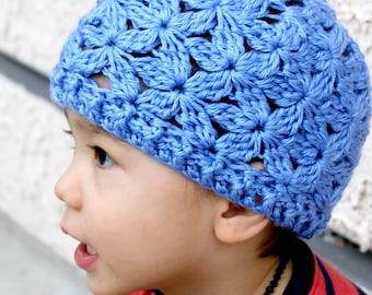 Crocheted Jasmine Flower Beanie. Blue. Hat.