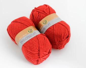 Lion's Pride Woolspun Yarn. Tomato. Red. Acrylic. Wool. Bulky.