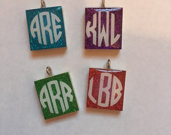 Scrabble Tile Jewelry - Monogram Necklace - Reversible Pendant - Personalized Jewelry - Mother's Day Gift