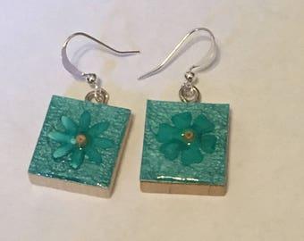 Scrabble Tile Earrings - Teal Floral Earrings - Teacher Gift - Mothers Day Gift - Birthday Gift