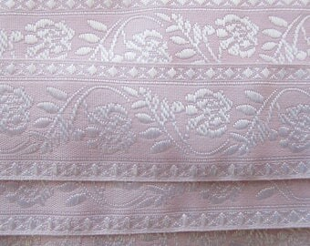 "Italy 1 Yard Fabric Jacquard Trim Pink And White Floral Folkloric Trim 1-1/4"" Wide Ribbon  RV 59"