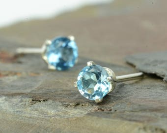 Swiss blue topaz earrings, sterling silver and swiss blue topaz studs, 3mm, 4mm, blue gemstone earrings, birthstone jewellery, gift for her