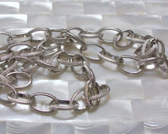 1 Foot Chain Steel Rhodium Finish Goth Hypoallergenic Lead/Nickel Free Large/Medium Open Link Jewelry Jewellery Supplies Bold Textured