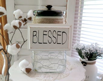 Wood Sign Blessed Farmhouse Inspired Hanging Wood,  Sign Rae Dunn Inspired