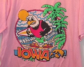 Vintage 1980s IOWA Hawkeyes Tee Shirt, Surfin' Herky Hawkeye,1987, Pink, Neon, Fluorescent,College,University Of Iowa,Football Fan Preppy