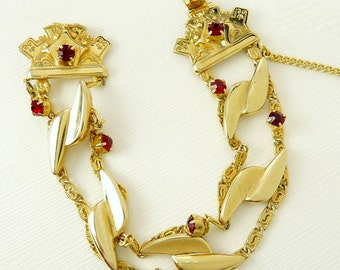Victorian Revival Bracelet Red Rhinestone Signed Marino