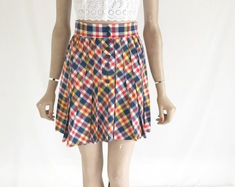 Vintage 70's Wool Plaid Mini Skirt. Size X Small