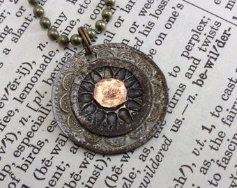 Medallion Steampunk Mixed Metal Necklace, Smashed Buttons and Other Findings UD3