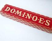 Vintage Dominoes Game, Set Wooden Dominoes in Original Red and White Box, 1940's Dominoes Game, Tile Game, Halsam Dominoes
