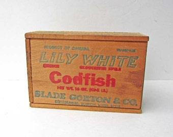 Vintage 1970's Lily White Brand Codfish Advertising Slide Top Small Box, Desk Box, Trinket Box, Fish Box