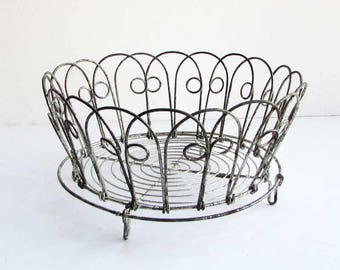 Wire Table Top Basket, Antique 1920 Vintage Folding Wire Footed Basket w Curlicue Design, Old Patina, Table, Kitchen Counter, Fruit Basket