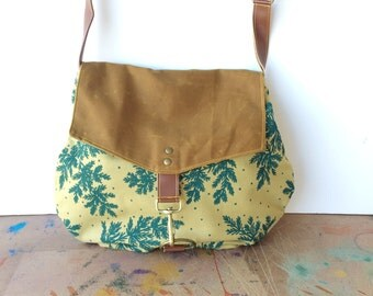 satchel • canvas crossbody bag - floral print • hand printed mustard canvas - teal botanical print - waxed canvas • native