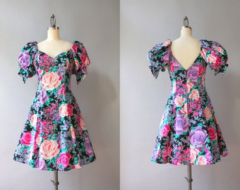 Vintage 90s Dress / 1990s Flouncy Black Floral Mini Dress / 1980s Full Tulle Skirt Puff Sleeve Bold Rose Dress