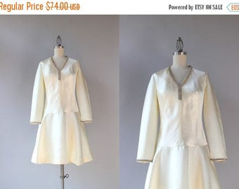 STOREWIDE SALE 1960s Dress / Vintage 60s White Satin Rhinestone Trimmed Dress / Mod Sixties Wedding Dress