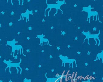 Batik Cats Bluebird Hand Dyed Hoffman Fabric 1 yard