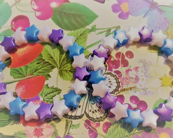 Two purple, blue and white star bead bracelets kawaii kandi rave