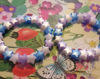 Two lilac, blue and white star bead bracelets kawaii kandi rave