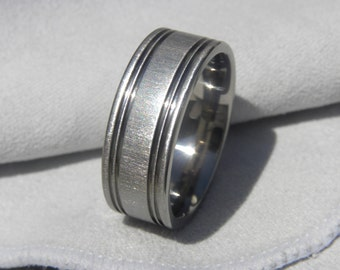 Titanium Ring or Wedding Band, 8mm, size 9, Frosted Finish, Clearance Price