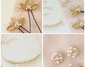 Set of Delicate Freshwater Pearl Branch Necklace, Earrings and Gold Leaf, Freshwater Pearl and Crystal Hair Pins,