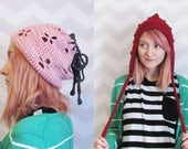 Cute sweet pixie hat drawstring hat cowl pink red