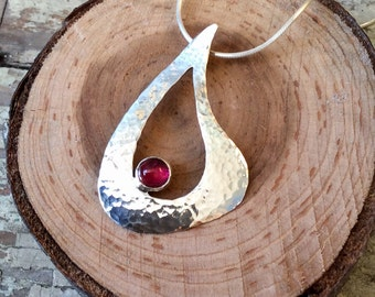 Sterling Silver Pendant with Hot Pink Tourmaline