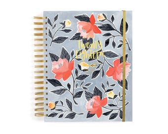 2018 12 Month Blue Floral Planner // 1canoe2