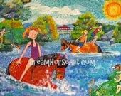"""Original painting, large 24 x 36 canvas,Children swimming with Horses, """"The Swimming Hole"""", whimsical art by artist M Theresa Brown OOAK USA"""
