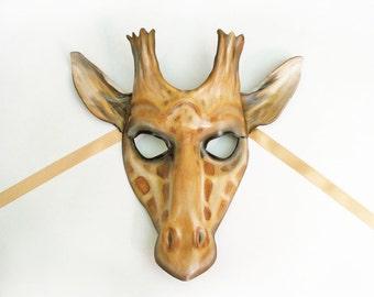 Leather Giraffe Mask by Teonova costume African animal Mardi Gras theater wall hanging art