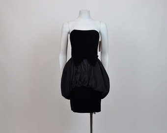 1980s dress / Vintage 80's does 50's Strapless Bubble Skirt Party Dress