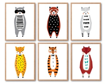 Nursery room decor, Raccoon, Woodland Nursery, Tiger, Leopard, Fox, Wolf, Red Panda, PRINT SET, Animal Illustration, Woodland animal Print