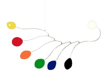 "Large Colorful Midcentury Mobile by Atomic Mobiles - 19"" x 37"" Large - Calder Inspired Kinetic Zen Art"